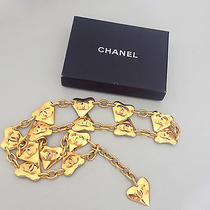 1993 Rare and Vintage Chanel Gold Metal Heart Charm Chain Belt Necklace Photo