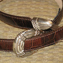 1995 Brighton Womens Brown Leather Belt Silver Copper Hardware  Strap 36709 M  Photo