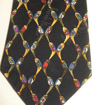 1996 Nicole Miller Men's Golf Clubs Theme 100% Silk Tie  Photo