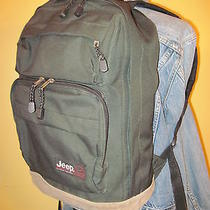 1999 Jeep Green Nylon & Brown Suede Leather Bottom Backpack Photo