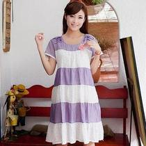 1pcs Spring Summer Maternity Mother Noble Loose Stripe Dress Pink / Light Purple Photo