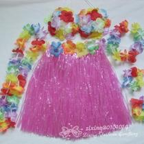 1set Hawaiian Grass Skirt Flower Bra Leis Fancy Dress for Party Dancing Zcq01-3 Photo