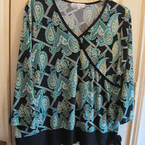 1x Blouse Top Dressbarn Dress Barn New Aqua Green Long Sleeves Photo