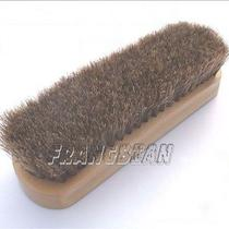 1x Quality Shoe Shine Brush Polish Applicator 100% Horsehair Wood Handle Photo