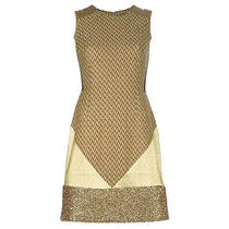 2145 New Missoni Italy Metallic Gold Patchwork Cocktail Dress It 44 Us 8 Photo