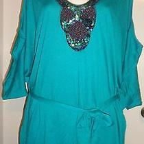2 2x Torrid Womens Plus Size Teal Beaded Cold Shoulder Stretch Knit Blouse Nwt Photo