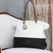 2360 Fendi Silvana 2bag Black & White Selleria Leather Shoulder Bag Tote Mint Photo
