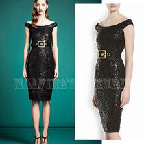 2900 Gucci Dress Black Lacquered Lace Off Shoulder Neckline Sz 38 Photo