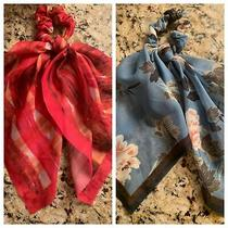 2 Anthropologie Hair Scarf Scrunchies Blue & Pink Euc Photo