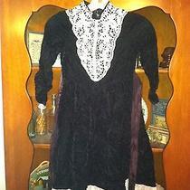2 Black Lace Front Victorian Look Vintage Dresses Jessica Mcclintock Girl 6x 3t  Photo