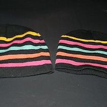 2 Black Women's Hat One Size by Target Yellow Pink Blue Orange Striped Teen Girl Photo