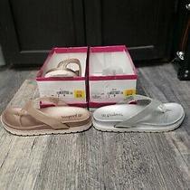 2 - Brand New Palms Mya Thong Sandals-Size 2m Little Girls-Rose Gold & Silver.  Photo