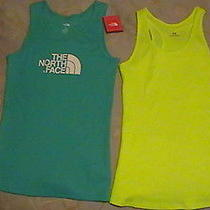 2 Brand New Womens Tank Tops Ylw Under Armourturquoise North Face Lg Awesome Photo
