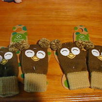 2 Brown Owl Knit Mittens One Size by Blossoms & Buds Photo