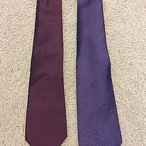 2 Calvin Klein Ties. Solid Maroon and Purple Striped Photo
