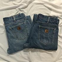 2 Carhartt Flannel Lined Denim Jeans 35 X 30 Dark Stone Wash Blue Workwear B172 Photo