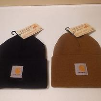 (2) Carhartt Watch Hats (Combo) Navy and Brown Photo