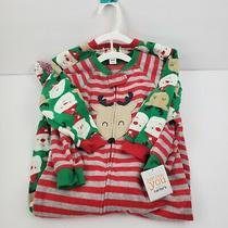 2-Carters Boy/girl Red Stripe Reindeer Christmas Sleeper Holiday Pajamas 4t New Photo