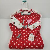 2-Carters Girl Red 2pcs Fleece Reindeer Sleeper Holiday Christmas Pajamas 4t New Photo