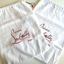 2 Christian Louboutin Paris Shoe Dust Bags White W/ Red Writing Storage Travel Photo