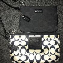 2 Coach Wristlet Clutch Wallet Black White Satin Set Logo Authentic Nwot Bag Photo