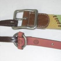 2 Fossil S Small Womens Belts Kenya Patchwork & Kinny O Ring Pink Photo