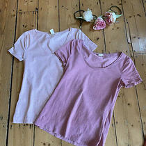 2 h&m T-Shirt Top Pink Short Sleeves Size S 8 10 Casual Scoop Neck Plain Work Photo