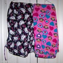 2 Hello Kitty &  Paul Frank Monkey Black & Pink Xl Fleece Sleep Pajama Pants Photo