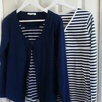 2 Long Sleeved Navy White Striped Maternity Tops Jojo Maman Bebe Szs Boohoo Sz12 Photo