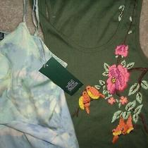 2 Lot Wild Fable Womens Xs Rare Teal Blush Print Embroidered Birds Flowers Tank Photo