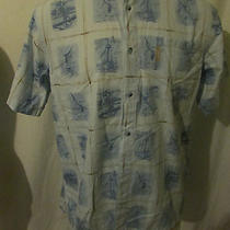 2 Men's Columbia River Lodge Size Large Fishing Fish Print Short Sleeve Shirt  Photo