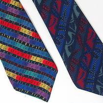 2 Missoni Blue Abstract Modern Stripe Men's Silk Ties Photo