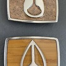2 Nixon Belt Buckles Both Tan W Silver Tone Chrome  2 3/4 W X 2 T Euc Photo