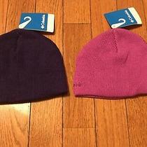 2 Nwt Girls Columbia Winter Beanie Hats Sz Youth Purple & Magenta 30 Valu Photo