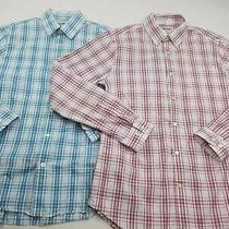 2 Pack Express Mens Red White Blue Plaid Extra Slim Fit Dress Shirt Medium Photo
