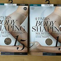2 Packs 2 m&s Body Shaping Secret Slimming Shine Tights Natural Tan Size Small Photo