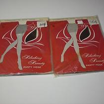 2 Pair 70's Actionwear Demi Toe Blushing Beauty Panty Hose Average Soft Brown  Photo