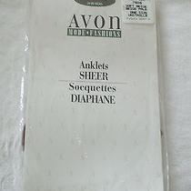 2 Pair Avon Fashions Sheer Anklets Soft Beige One Size Photo