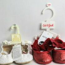 2 Pair Bow Shoes Baby Gap White Cat Jack Red Girl Size 6 Months Soft Sole Shoes Photo