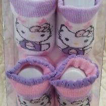 2 Pair Hello Kitty Infant Baby Booties Socks 0-12 Months Great Gift Sanrio Photo