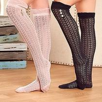 2-Pair Ladies Over-the-Knee Socks With Buttons - Black & Blush Photo