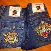 2 Pair Men's Ed Hardy Vintage Tattoo Wear Denim Jeans Row 30 Seat 33 Photo