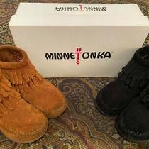 2 Pair of Pre-Owned Minnetonka Double Fringe Booties Childs Size 8 Brown & Black Photo