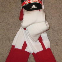 2 Pair Pairs of Adidas Gametime Baseball Stirrup Socks Red White L 10-13 New Photo