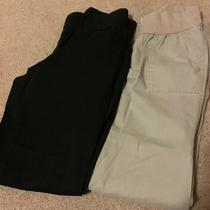 2 Pair Size 4 Gap Stretch Maternity Dress Pants Black and Tan. Photo