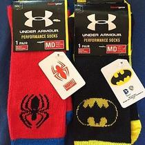 2 Pair Under Armour Alter Ego Mens Crew Socks Spider Batman Marvel Dc Comics Nwt Photo