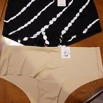 2 Pairs Auden Panties Black Boyshorts / Tan Cheeky Size L 12-14 Nwt Photo