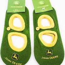 2 Pairs John Deere Green Mary Jane Socks Baby Size 4 - 10 Toe Authentic Sock New Photo