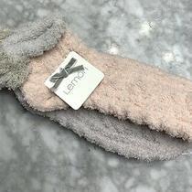2 Pairs Lemon Ladies Slipper Socks Plush Low Cut Pom Poms Soft Gray & Blush Pink Photo