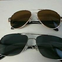 2 Pairs of Fossil Aviator Sunglasses--One Silver and One Gold--Cases Included Photo